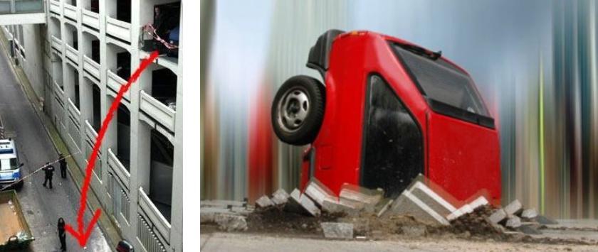 Parkdeck | Durch stark überhöhte Geschwindigkeit durch die Außenbrüstung